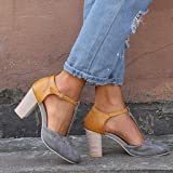 LUCA Women's Classy Round Toe Ankle Buckle Strap