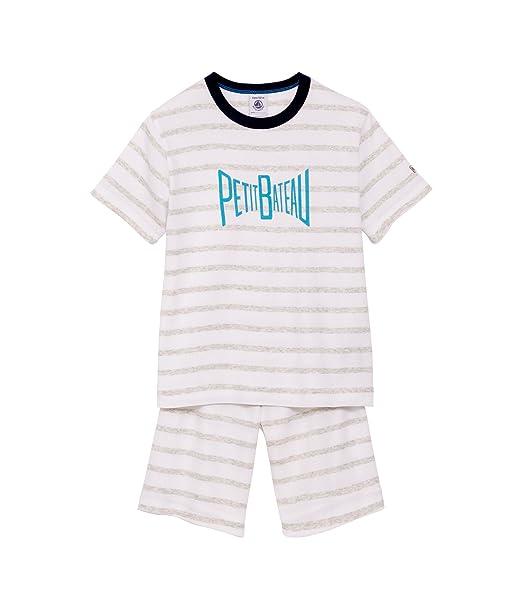 Petit Bateau - Pijama de dos piezas con cuello barco de manga corta para niño,