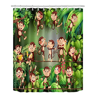 LB Cute Monkeys in Jungle Shower Curtain Set, Cartoon Kids Animals Theme Decor Curtain, 70x70 Shower Curtain Set Waterproof Mold Resistant