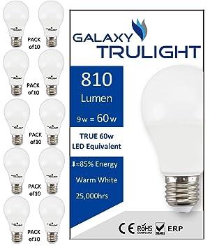 Paquete de 10 - bombilla de 9 vatios LED (60 vatios equivalente) - Galaxy Trulight LED proporcionadas por Samsung - blanco cálido: Amazon.es: Iluminación