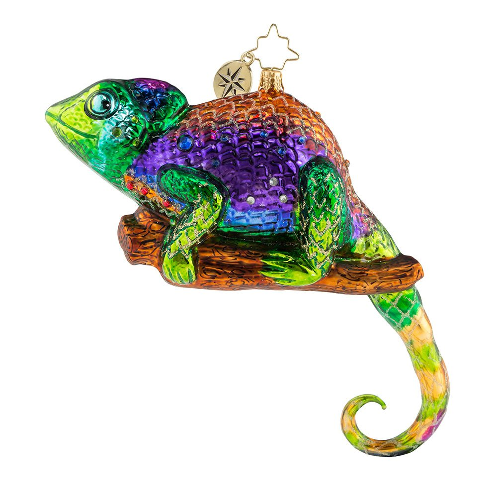 Christopher Radko A Colorful Personality Chameleon Lizard Themed Glass Ornament