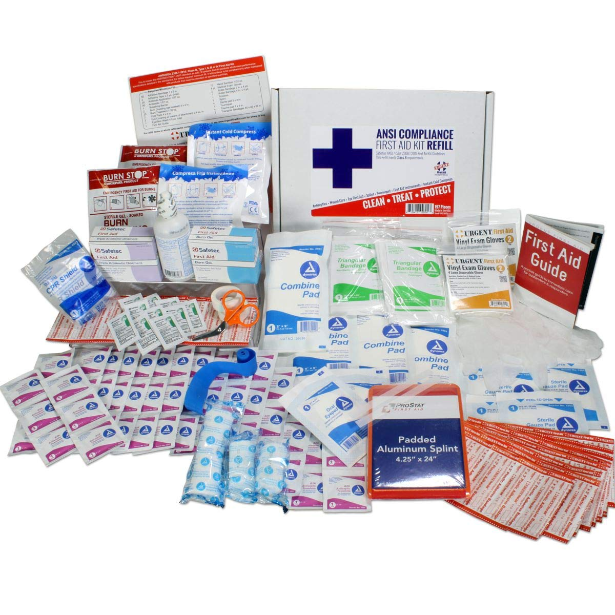 OSHA & ANSI First Aid Kit Refill/Upgrade, 50 Person, 196 Pieces, ANSI 2015 Class B - Includes Splint, Tourniquet, Tools, Single dose and More: Fill Your kit or use to Upgrade to Current regulations by Urgent First Aid