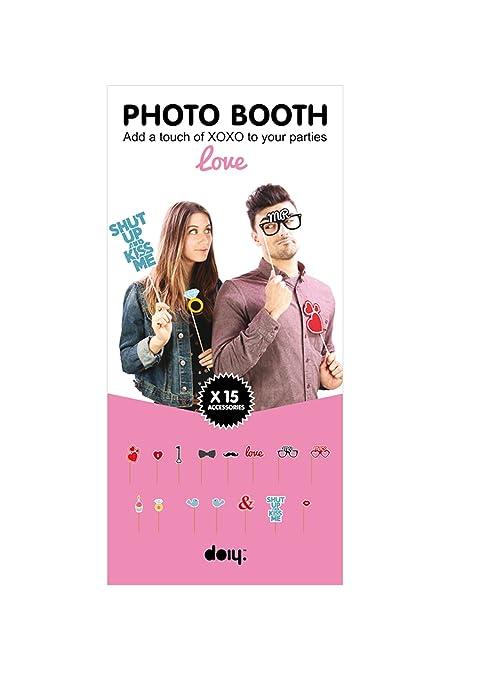 Multi-Colour Animewild DYBOOTHLO Set Of 15 Doiy Medium Paper Love Booth