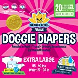 Bodhi Dog Disposable Dog Female Diapers | 20 Premium Quality Adjustable Pet Wraps with Moisture Control & Wetness Indicator | 20 Count