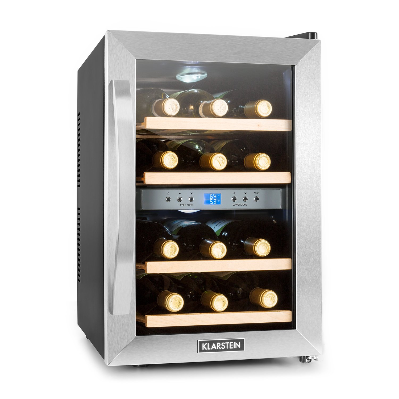 KLARSTEIN Reserva 12 Duo • Dual Zone Wine Cooler • 1.2 Cubic Feet • 4 Shelves • Double-Insulated Glass Door • LED Interior Lighting • Stainless Steel