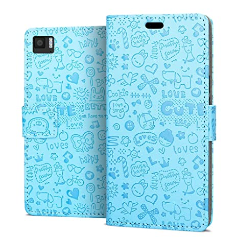 RIFFUE Funda BQ Aquaris M 2017 / M5.5, Carcasa Libro Suave Delgada con Tapa Flip Dibujo Bonito de Piel Sintético + Silicona Moda Oso, Cierre ...