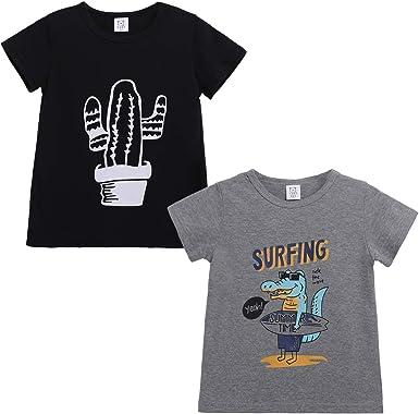 Toddler Little Boys T Shirts 2 Pack Short Sleeve Crewneck Top Tee Dinosaur Car Shark Shirts for Kids 2-5 Years