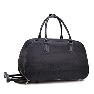 b0d0ef702 Ladies Travel Holdall Bags Hand Luggage Womens Flower / G Print Bag Weekend Wheel  Bag (Canvas Small G - Black): Amazon.co.uk: Shoes & Bags