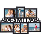 """Deco De Ville 7 Opening """"FAMILY"""" Theme Plastic Decorative Puzzle Collage Picture Photo Frame, Wall Hanging, Black"""