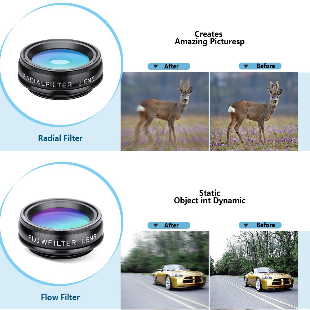Yimaler Cell Phone Camera Lens Kit, 10 in 1 Micro Camera Lens for iPhone/Android Phone/Tablet/Laptop Included 0.63X Wide Angle Lens+15X Marco Lens+198° Fisheye Lens+2X Telephoto Lens+CPL/Flow/Radial/S by Yimaler (Image #3)
