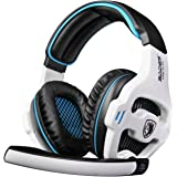 SADES SA810 3.5mm Wired Stereo Gaming Headset with Microphone for PC / Laptop, Black / White