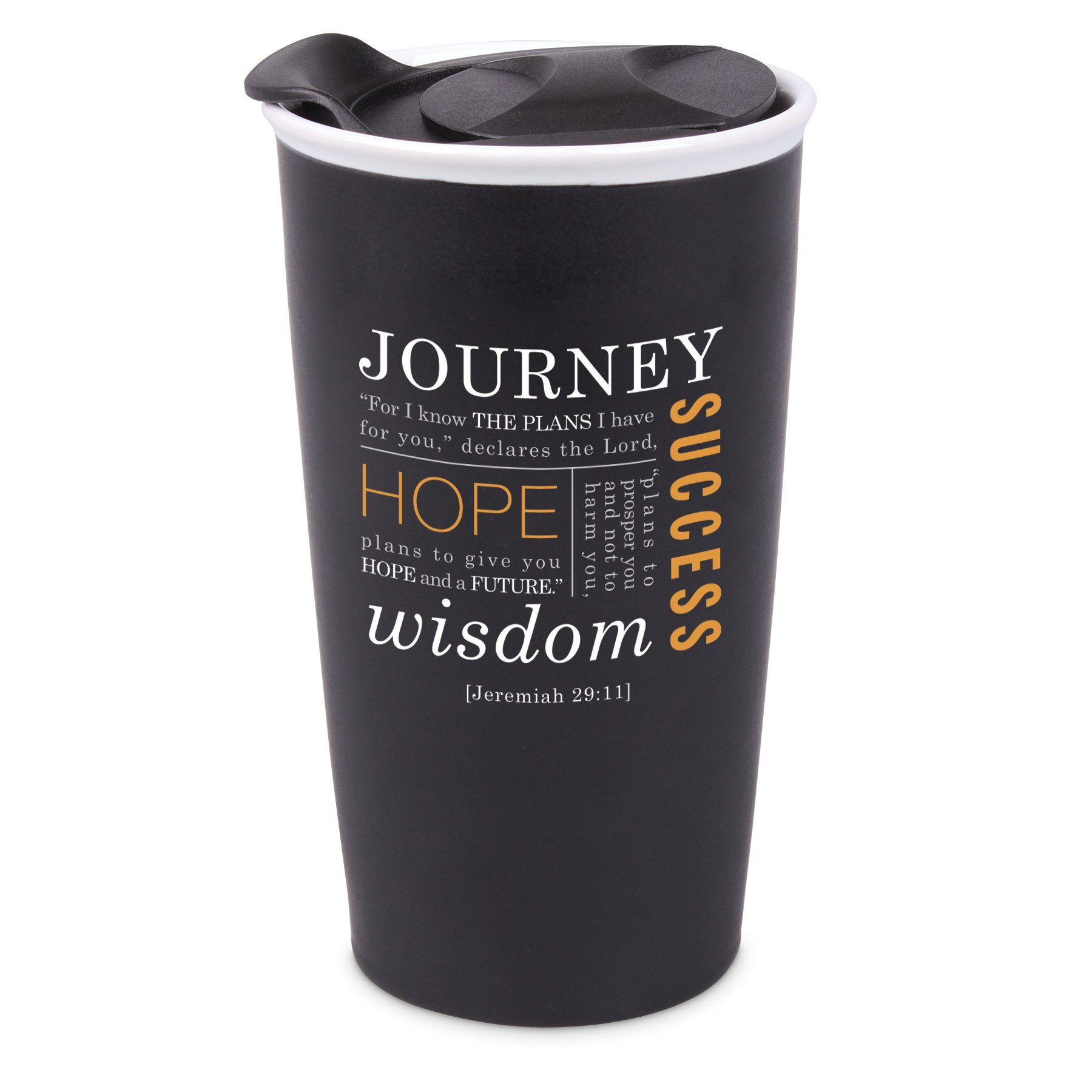 Lighthouse Christian Products Journey Ceramic Tumbler Mug, Black by Lighthouse Christian Products