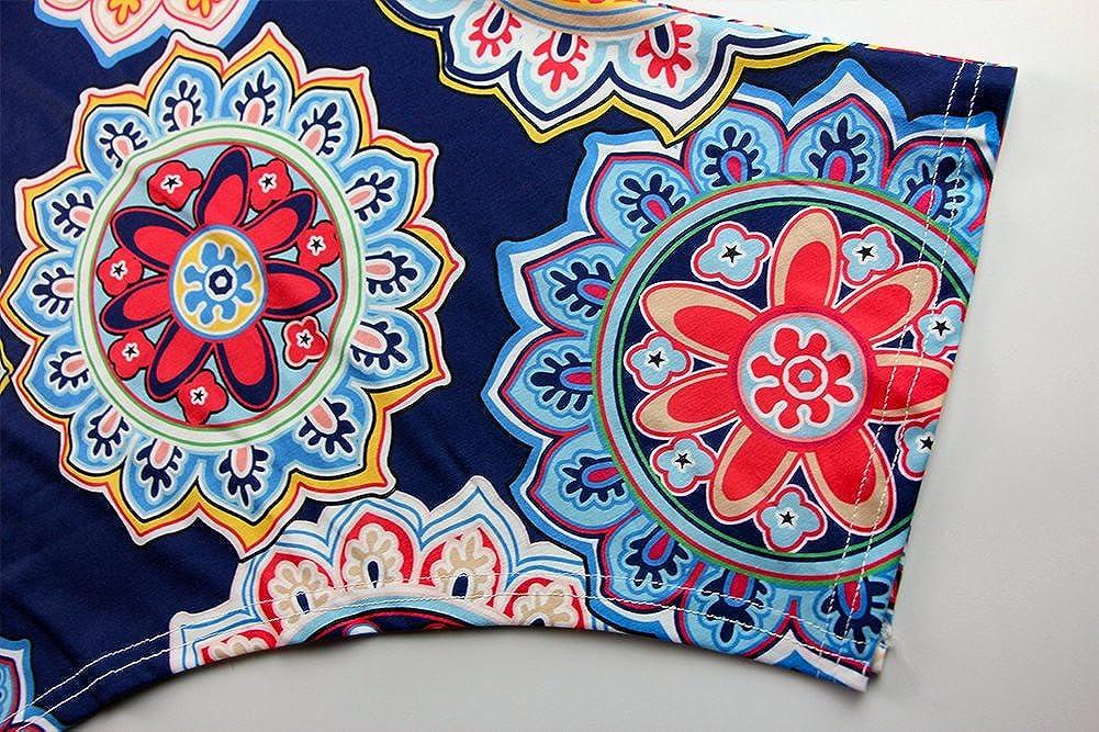 MIROL Womens Summer Short Sleeve Floral Print Irregular Hem Asymmetrical Loose Fit Tunic Tops