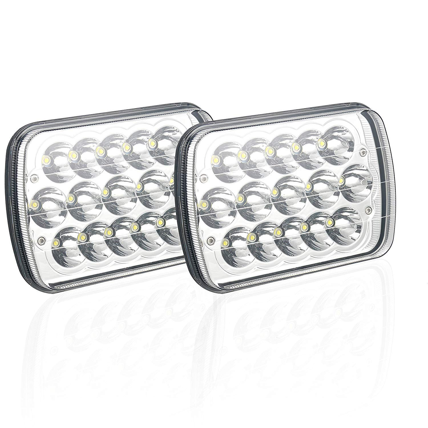 2PCS 45w Rectangle 5x7 7x6 Led Headlight Led Sealed Beam Compatible with Jeep Wrangler YJ Xj Chevy Cherokee Truck etc
