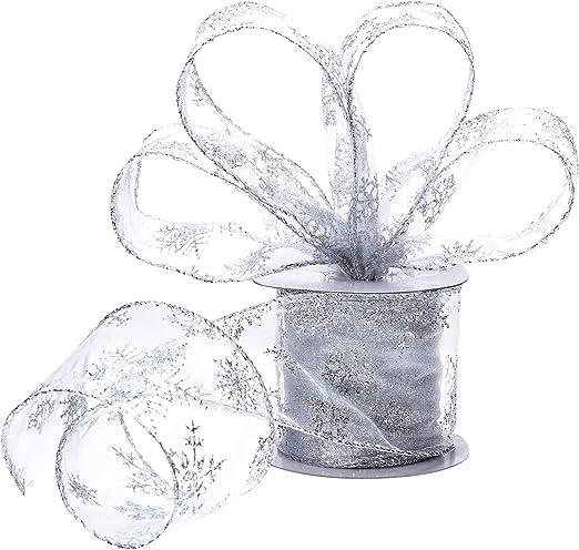 envoltura de ramo de 1 pulgada de ancho para decoraciones de bodas de fiesta de Navidad Cinta de organza,cinta de organza transparente rosa de 9 m con envoltura de regalo met/álica con brillo dorado