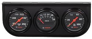 "Bosch SP0F000054 Style Line 2"" Triple Gauge Kit (Black Dial Face, Black Bezel)"