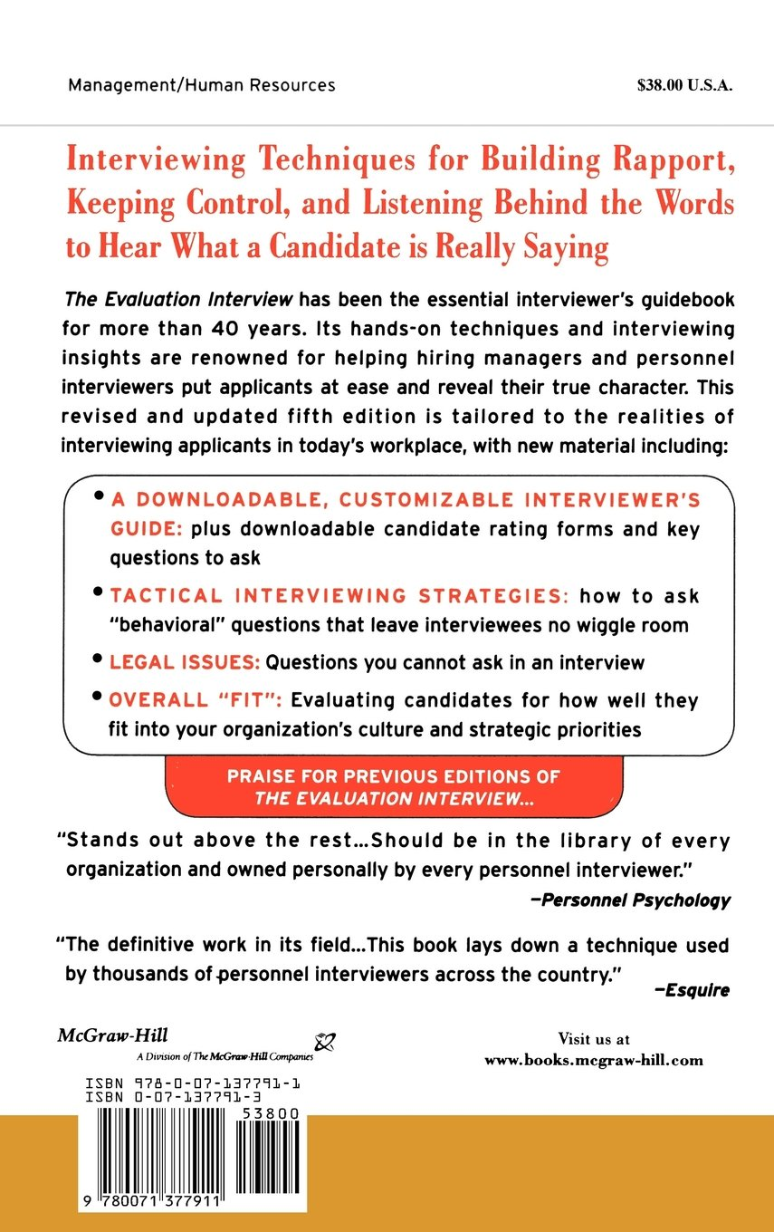 the evaluation interview how to probe deeply get candid answers the evaluation interview how to probe deeply get candid answers and predict the performance of job candidates general finance investing
