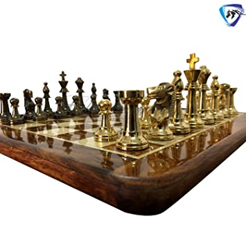 Chessncrafts 17 x 17 Collectible Rosewood Wooden Chess Game Board Set+Brass Metal Crafted Pieces