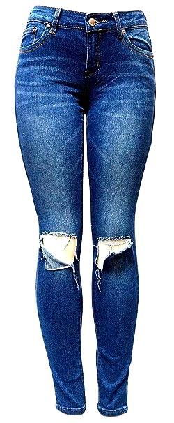 0f6a7c1a299e Juniors Women's Blue Jean Denim Stretch Skinny Ripped Distressed Jeans  Pants (0, VINS ME
