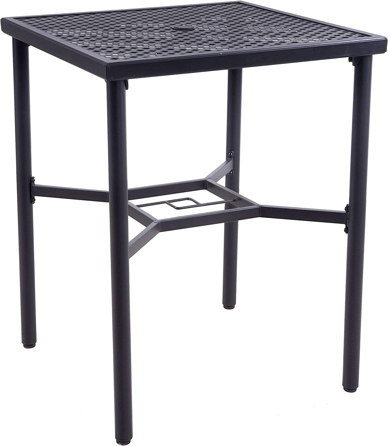 """EMERIT Patio Metal Outdoor Bistro Bar Square Table with Umbrella Hole - 28"""" x 28"""",36"""" Height (Metal bar Table)"""