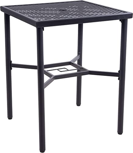 EMERIT Patio Metal Outdoor Bistro Bar Square Table with Umbrella Hole – 28 x 28 ,36 Height Metal bar Table