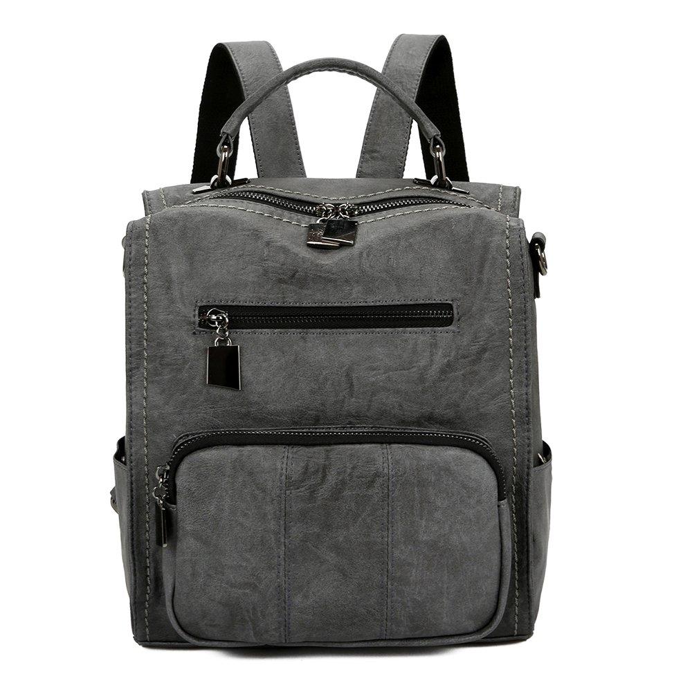 Mynos Women Backpack Purse Leather Handbag Bag Ladies Rucksack Travel Tote Shoulder Bag (Gray)