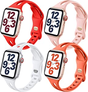 Getino Bands Compatible with Apple Watch Band 42mm 44mm, Soft Silicone Sport Replacement Band for iWatch SE & Series 6 5 4 3 2 1 Women Men, 4 Pack, Coral, Blight Red, Pink Sand, White