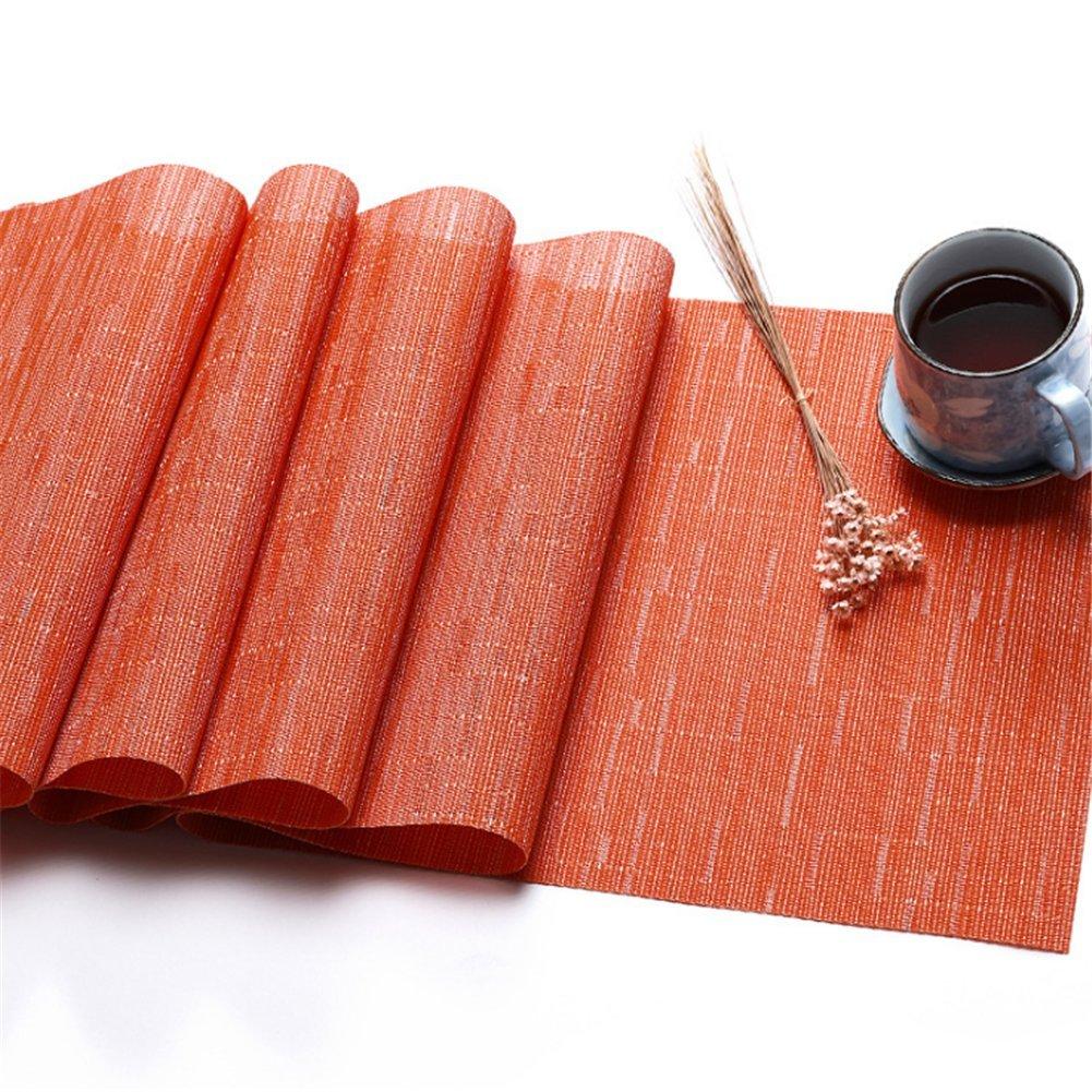 Eastern Corridor Non Slip Western Style Eco-Friendly Rectangular Heat Insulation PVC Vinyl Weave Table Runner (Orange, 11.8'' 53.1'')