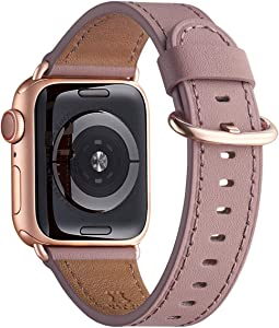 WFEAGL Compatible iWatch Band 38mm 40mm,Top Grain Leather Band with RoseGold Adapter(The Same as Series 5/4/3 with Gold Aluminum Case in Color)for iWatch SE & Series 6/5 /4/3/2/1(Laverder+RoseGold Adapter)