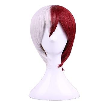 Amazon Com Yilys Half Silver White Half Red Halloween Cosplay Wig