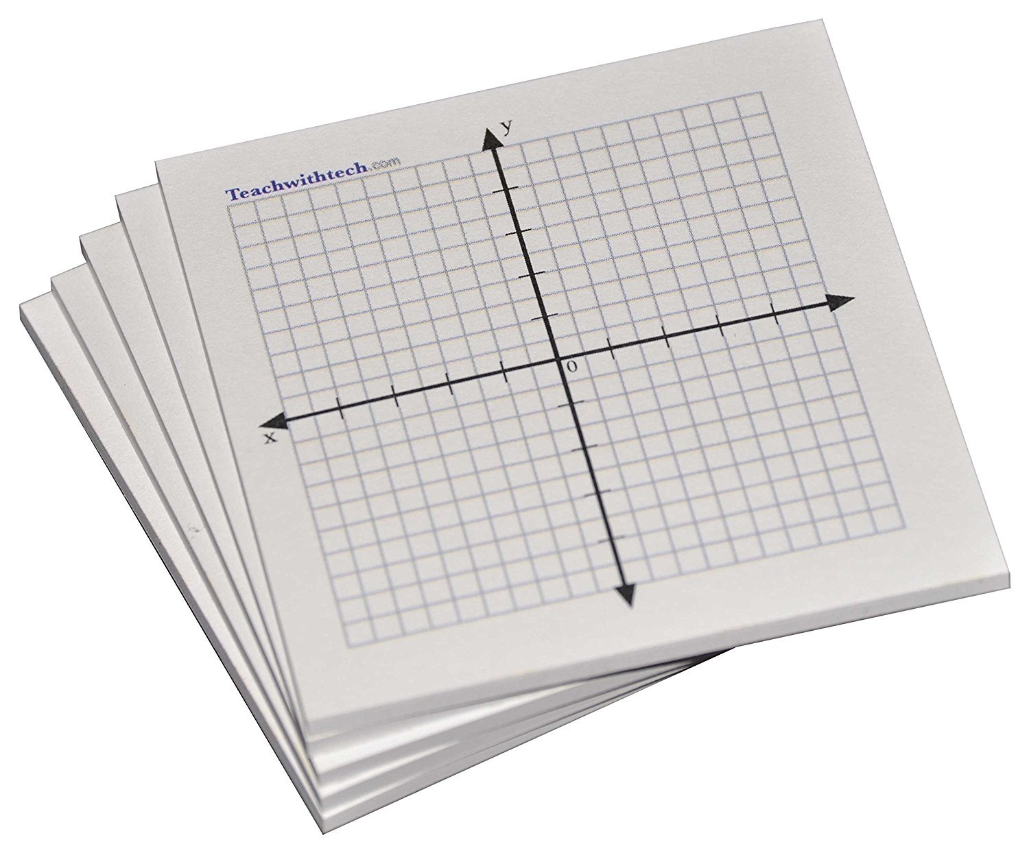 Sticky Note Mini Graph Pads - 5 Count - Graph Paper Sticky Notes 20 x 20 Four Quadrant Bic Sticky101