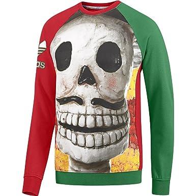 adidas Originals Raglan DAY OF DEAD Trefoil Mexico Pullover Sweatshirt (XS,  rot-grün 751d78c550