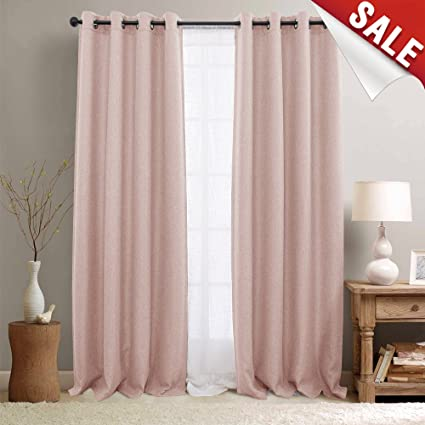 jinchan Pink Curtains for Living Room Darkening Grommet Curtain Panels  Blackout Drapes for Bedroom, 2 Panels (95\