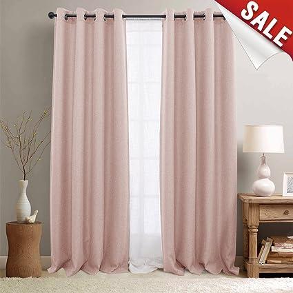 jinchan Pink Curtains for Living Room Darkening Grommet Curtain Panels  Blackout Drapes for Bedroom, 2 Panels (95\
