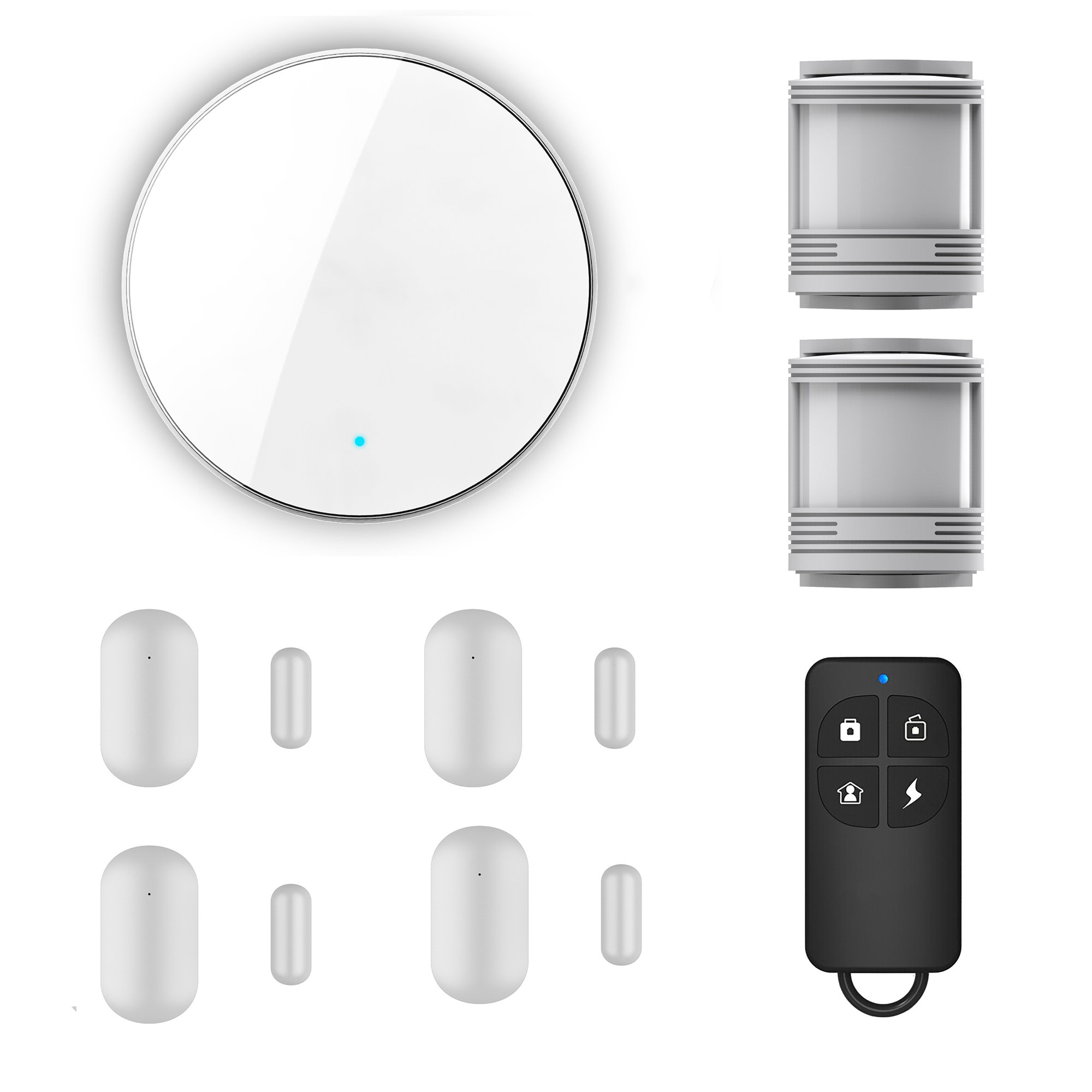 eFamily Smart All-In-One Complete Home Security System | PIR Motion Detection | Contact Sensor | iOS Android App | Alarm | Alexa Echo Voice Control | Wireless 2.4ghz WiFi | For Home Office Window Door