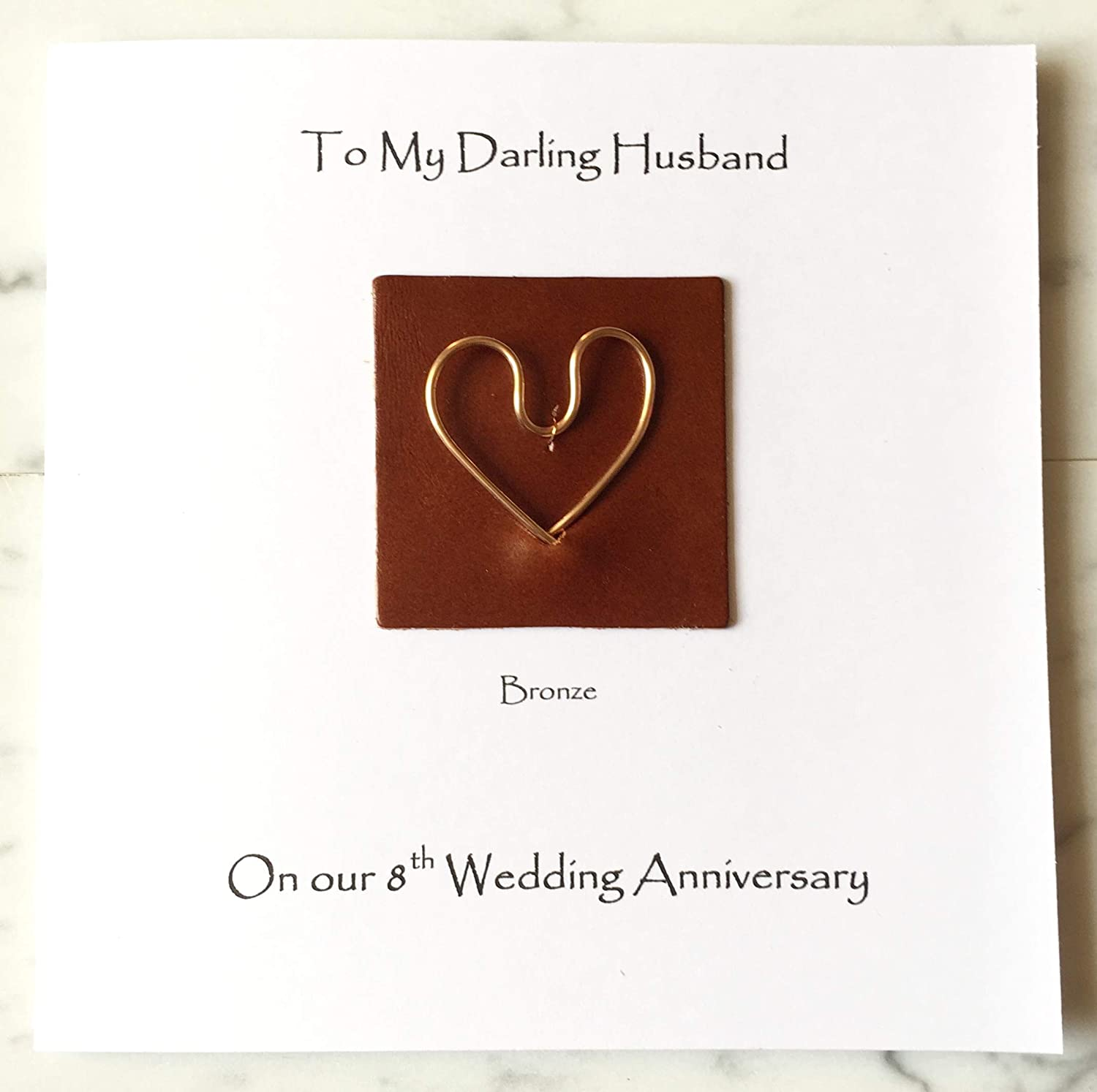 8th Wedding Anniversary Card Bronze Anniversary Wife Husband Bronze Heart On Leather Square Card 144mm X 144mm 5 5 X 5 5 Amazon Co Uk Handmade