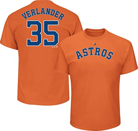 lowest price 1670b ec974 Outerstuff Justin Verlander Houston Astros #35 MLB Youth Player T-Shirt  Orange