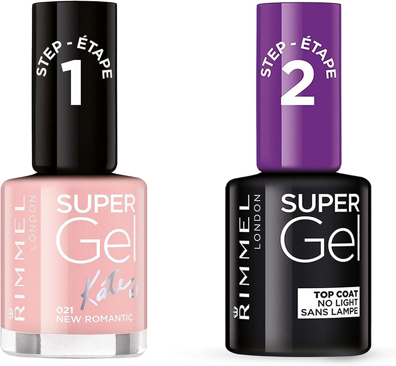 Rimmel Super Gel 14 días dúo pack (021 New Romantic + Top Coat No Light): Amazon.es: Belleza