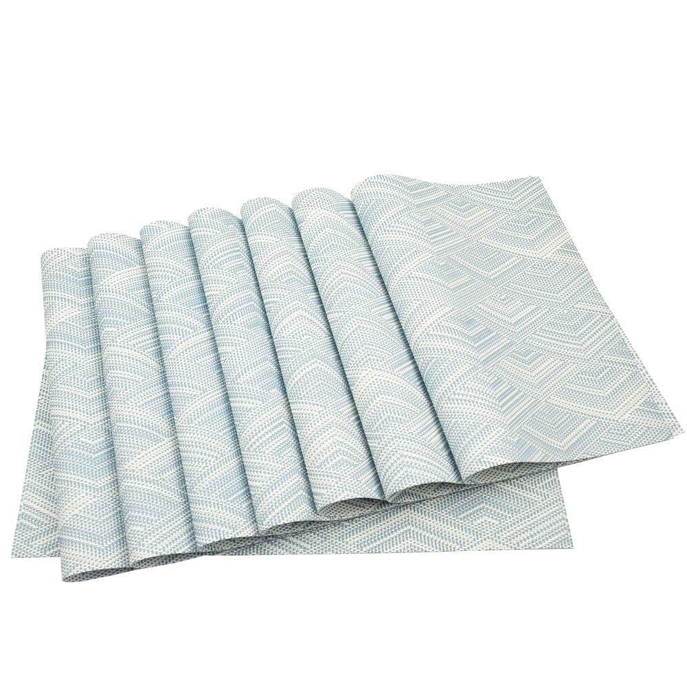 プレースマット、O 'family耐熱プレースマット汚れ防止滑り防止洗濯可能PVCテーブルマット織ビニールプレースマット、セットの6  Blue-8 B078XQBSGP
