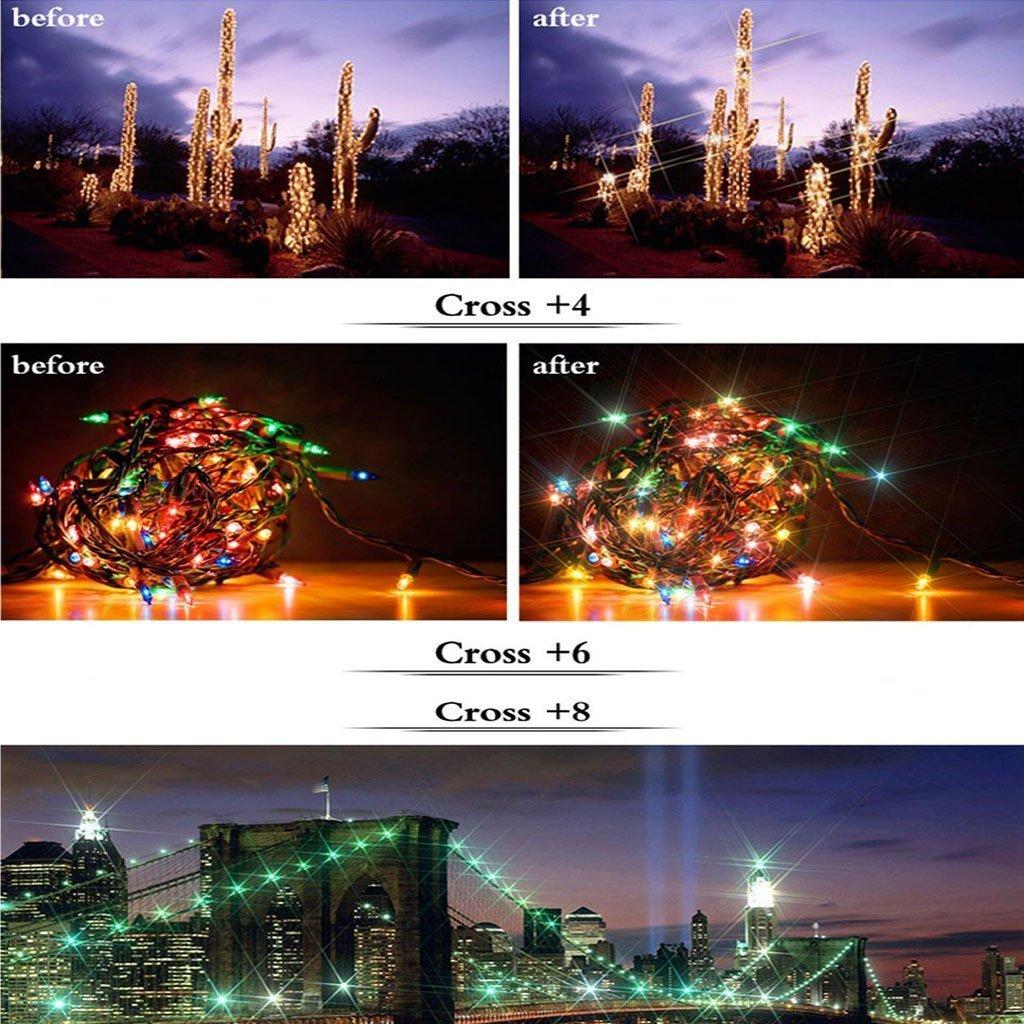 Stern Effektfilter, CAM-ULATA 52mm 4 Punkte 6 Punkte 8 Punkte Stern Filter für Canon Nikon Sony Olympus Pentax Digital SLR Kamera Camcorder DV Objektiv Effekt-Filterset + Nylon Filtertasche + Premium Microfaser Reinigungstuch