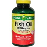 Spring Valley Fish Oil 1,000 mg, Omega-3 300 mg, Heart Health, 300 Softgels