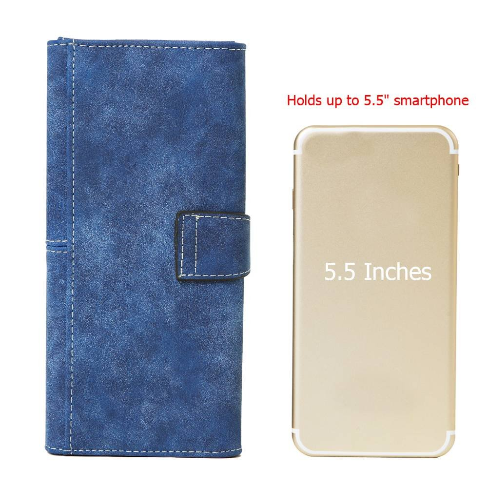 Women's Vegan Leather 17 Card Slots Card Holder Long Big Bifold Wallet,Navy by Cynure (Image #5)