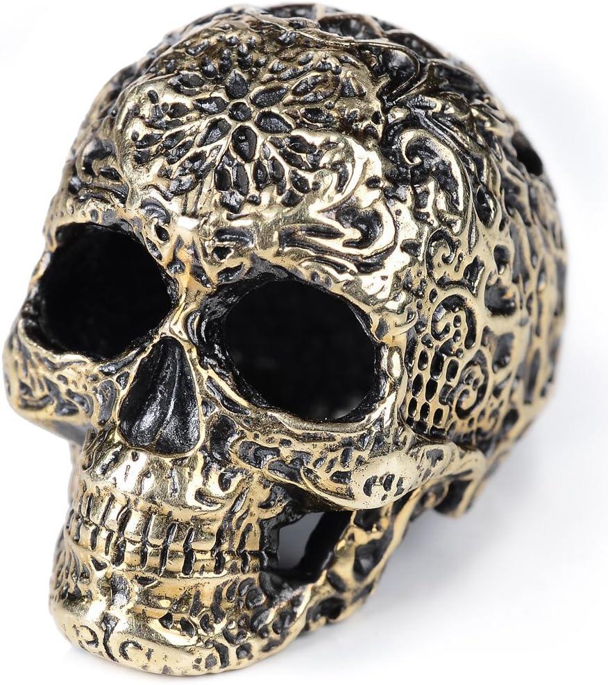 Premium paracord beads «Decorative Skull» of brass for EDC lanyard or survival bracelet, zipper pulls, backpack, keychain.