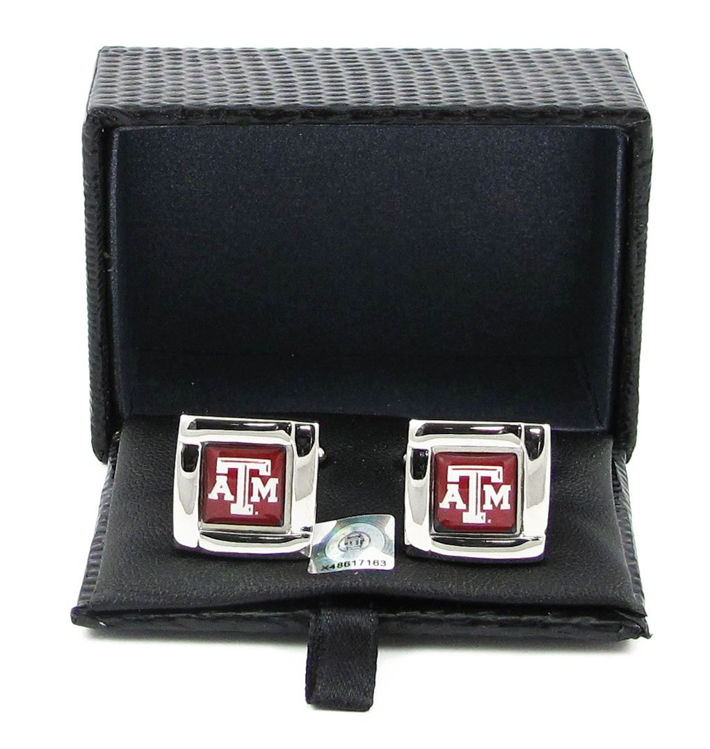 Ncaa Texas A&M Aggies Square Cufflinks with Square Shape Engraved Logo Design Gift Box Set Aminco 29822493