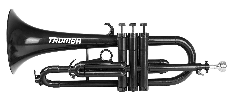 Classic Cantabile Tromba ABS Kunststoff Flügelhorn (Monel-Ventile, Gewicht nur 560g, inl. Mundstück, Tasche & Reinigungsset) Schwarz inl. Mundstück TF-150BK