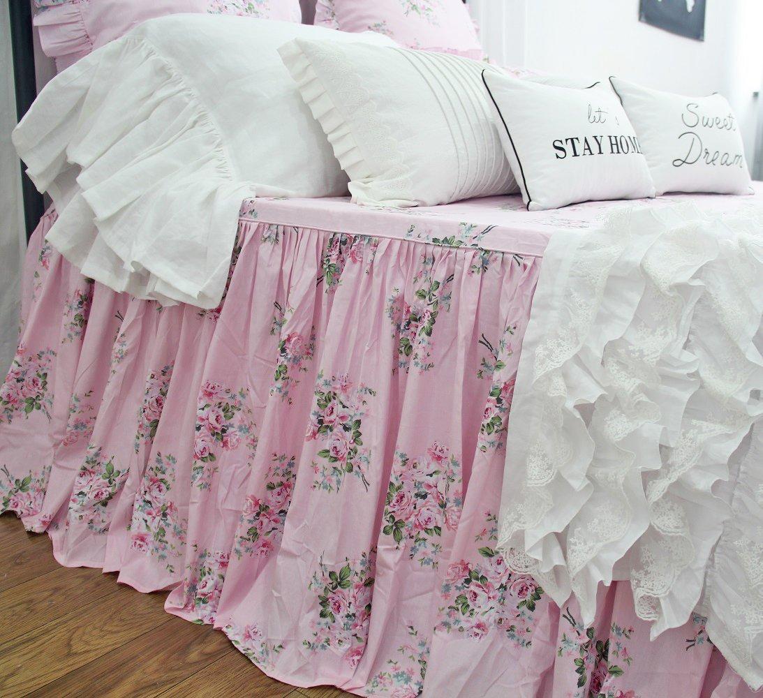 Shabby Rose Printed Bedspreads Girls Pink Floral Bed Coverlet Bedspread Bedskirts