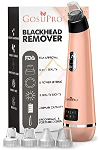 Upgraded 2019 Blackhead Remover Vacuum - Rose Gold Pore Vacuum Blackhead Remover - Blackhead Vacuum Remover & 5 Tools Blackhead Extractor & 3 Lamp Black Head Remover - Pore Extractor & Pore Cleaner
