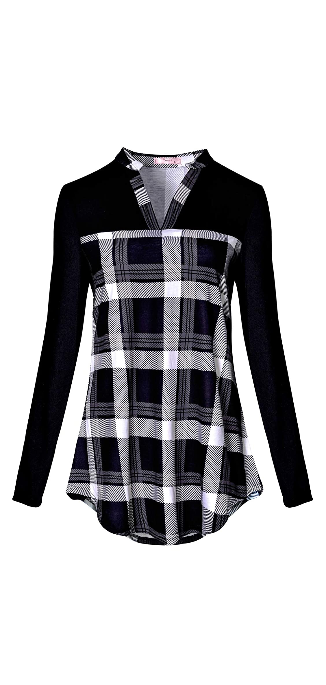 Women Notch V Neck Casual Plaid Long Sleeve Loose Tunic