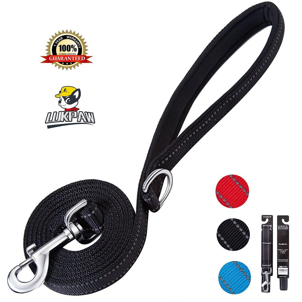 LukPaw Heavy Duty Dog Leash Reflective Dog Leash 6ft Nylon Rope Dog Training Leash For Large Dogs Medium Dogs (BLACK)