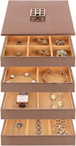 Stackable Jewelry Organizer Trays & Lid for Jewelry Showcase Display & Jewelry Storage Holder for Earrings, Bracelets, Necklaces & Rings - Set of 4